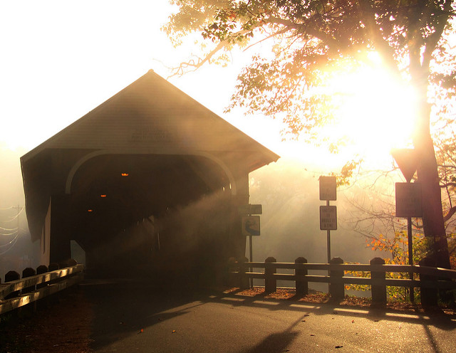 10. The early morning light is stunning over this covered bridge in Campton.