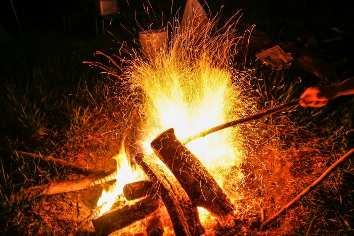 18.  Get your campfire going.