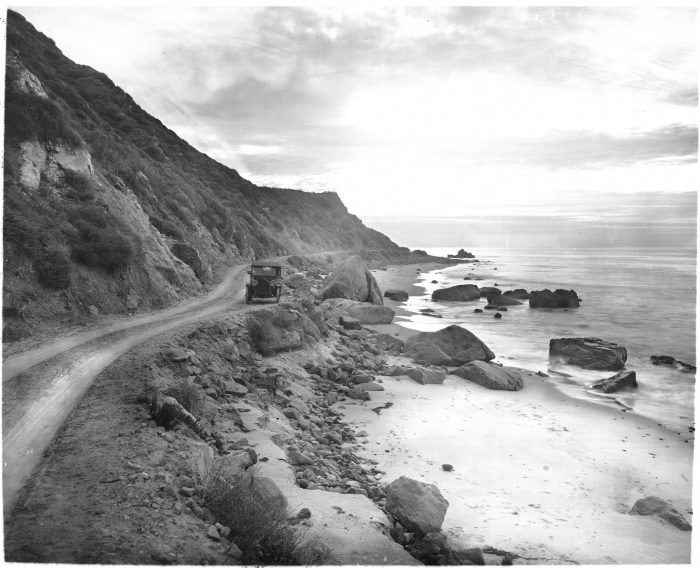 6. Santa Monica as it looked in 1910. An early model automobile travels down Ocean Road.