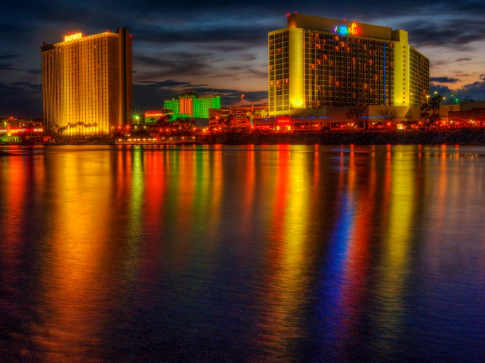 15. The lights of Laughlin's skyline are bouncing off the Colorado River and creating a colorful effect.