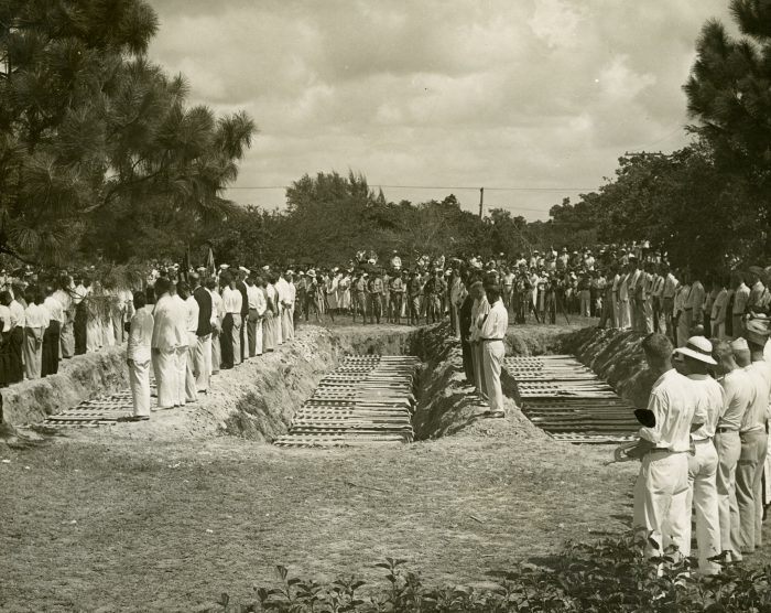 The mass burial of 116 veterans killed in the 1935 Hurricane in Woodlawn cemetery in Miami on September 8, 1935.