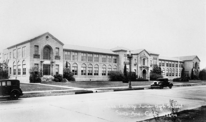 10. Julia Lathrop Junior High School circa 1920s at 1120 S. Main Street in Santa Ana. It was eventually torn down in the '70s after being deemed unfit to survive an earthquake. A new school was built on the same site.