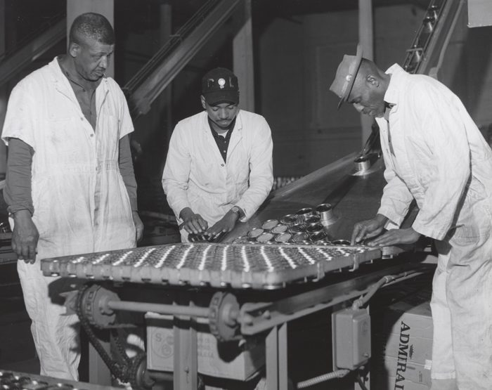 13. A tuna canning plant in Cambridge circa 1955.