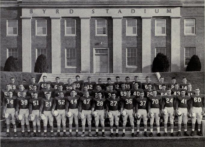 4. A team photo of the 1951 Terrapins in front of Byrd Stadium.