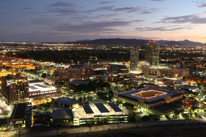 """15. Finally, Tempe Butte (aka """"A"""" Mountain) gives a beautiful view of the nightlife in Tempe, Phoenix, and Scottsdale."""