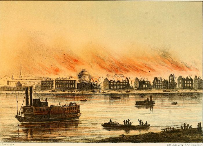 St. Louis Fire, illustration in a German book from 1857