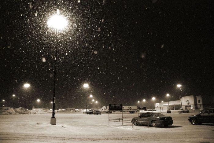 3. On a snowy night:
