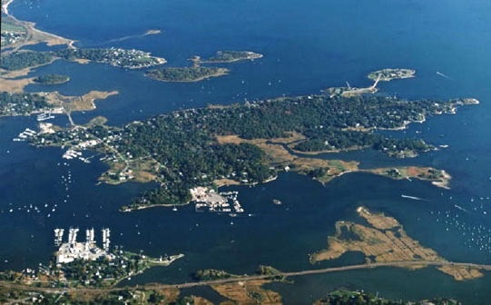 6. Mason's Island, off Stonington, is a small inhabited island at the mouth of Mystic River, full of charming homes.