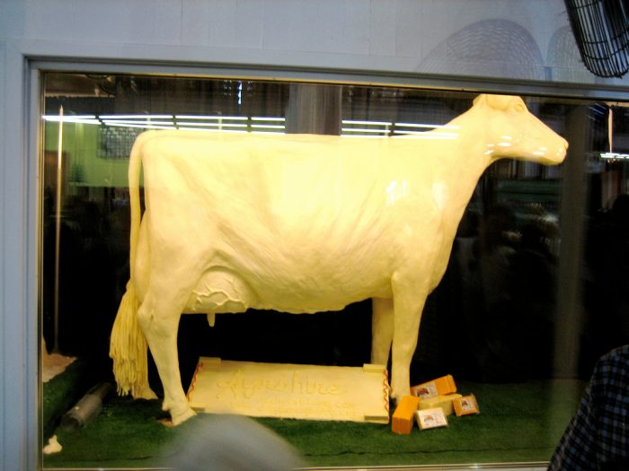 3. We'll travel hundreds of miles once a year to look at a cow made of butter.
