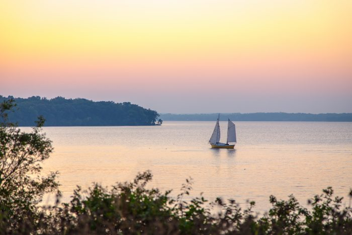 3. On a sailboat at Lake of the Ozarks