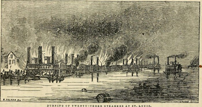 Steamboats burning