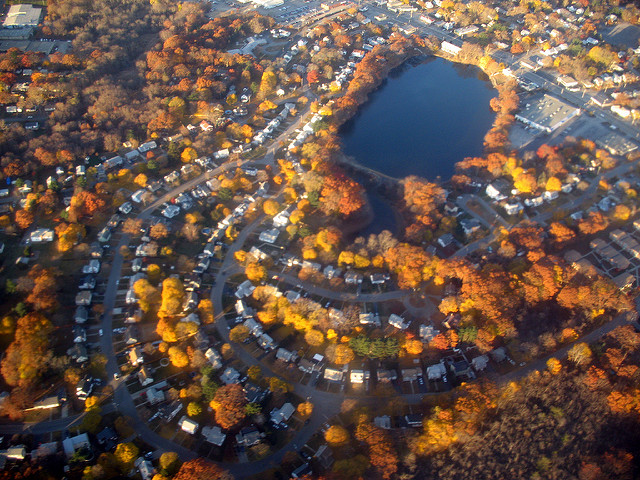6. This aerial view of Sand Pond on the border of Cranston and Warwick is out of this world! Though tucked away in a residential neighborhood, it is just steps away from one of Warwick's busiest roads.