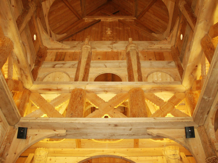 The interior is full of hand-carved wood that is packed with detail and meaning.