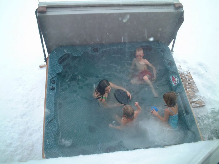 3. Jumped back and forth between the hot tub and a snow bank.