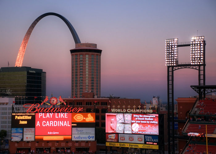 10. Every state has a sunset, but only Missouri has one over Busch Stadium with the Gateway Arch.