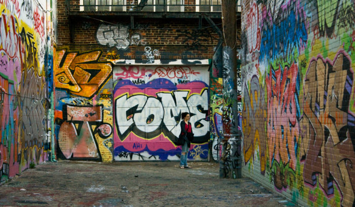 2. The art at Graffiti Alley in Baltimore is ever changing, but always remains bold and bright.