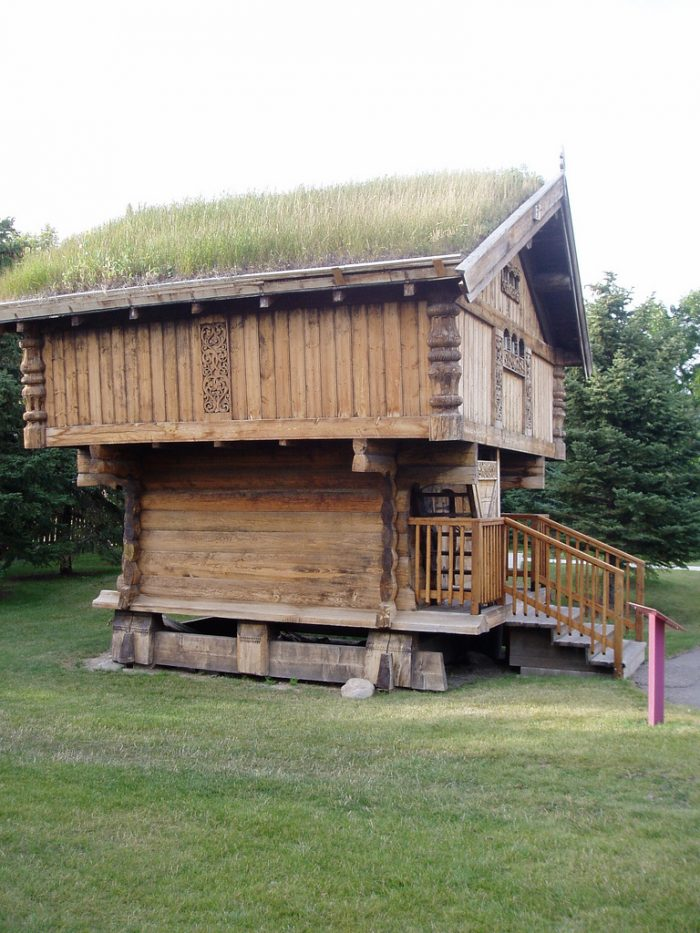 1. This unusual grassy-roofed house is part of the Scandinavian Heritage Park in Minot.