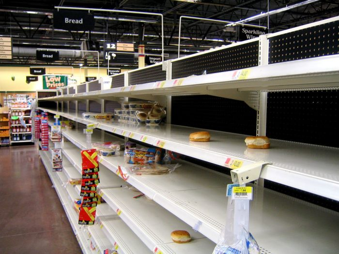13.  The grocery store before a snowstorm.