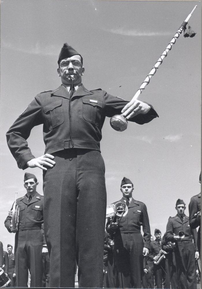 12. A Terrapins drum major. Photo taken between 1951-1955.