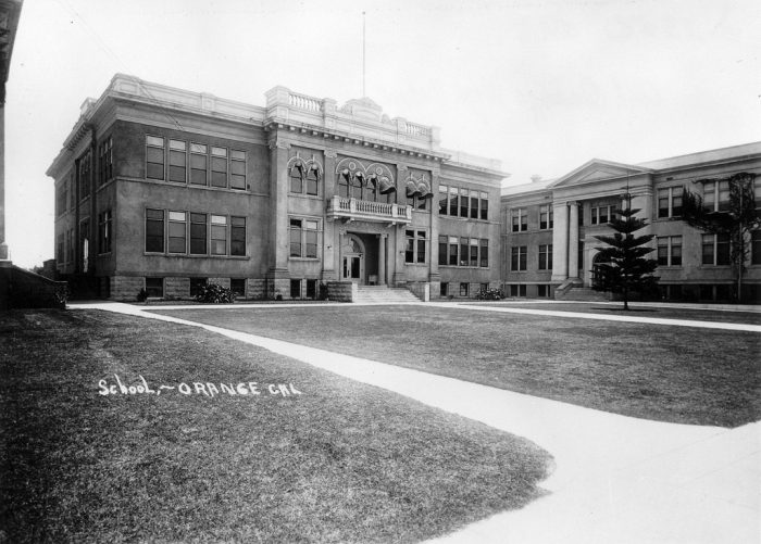 9. Orange Union High School in 1920. This is now the location of the auditorium at Chapman University. My how things change!