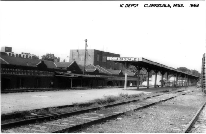 4. The Illinois Central Railroad arrived in Mississippi as early as 1883. This Clarksdale depot was photographed nearly a century later in 1968.