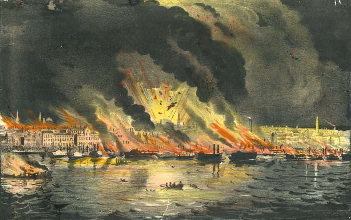 Great Fire at St. Louis, 1849. Color lithograph by Nathaniel Currier.