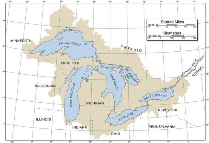 17.  Map of the Great Lakes with Lat/Lon and basin outline.