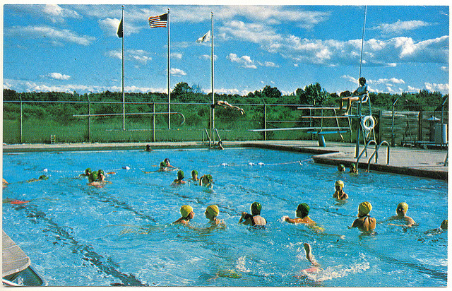 2. If it was nice out, we spent time swimming at the local pool or lake.