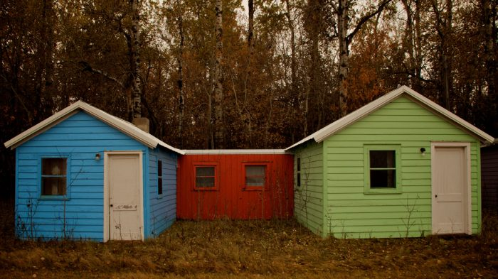 6. Brightly colored cabins that are abandoned today near Berwick, ND.