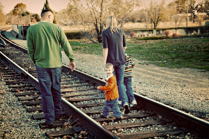 ...followed by the family pic on the train tracks.