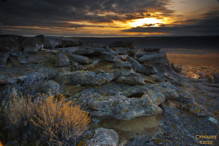 12. An unearthly sunset is captured here in the desert of Southern Idaho.
