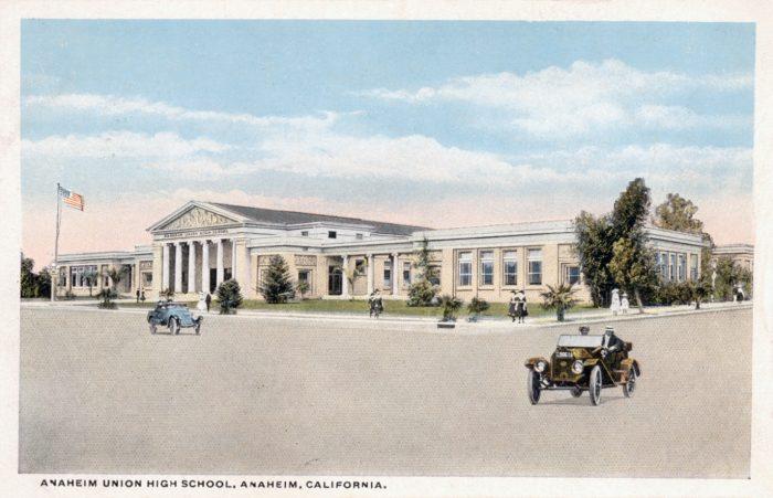 1. A postcard capturing Anaheim Union High School circa 1910. I wonder if they were carpooling back then?