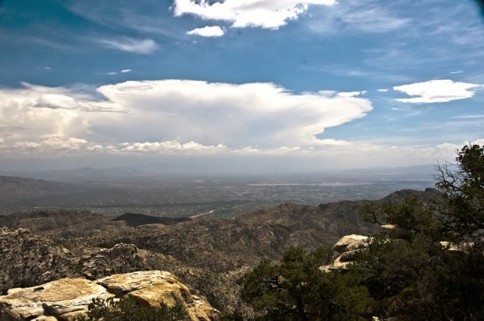 6. In this view from Mount Lemmon in July, you can see the monsoon clouds building up.
