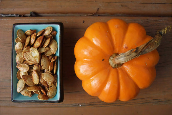 13. Roasted pumpkin seeds. People have been known to coat their sunflower seeds in Old Bay, too.