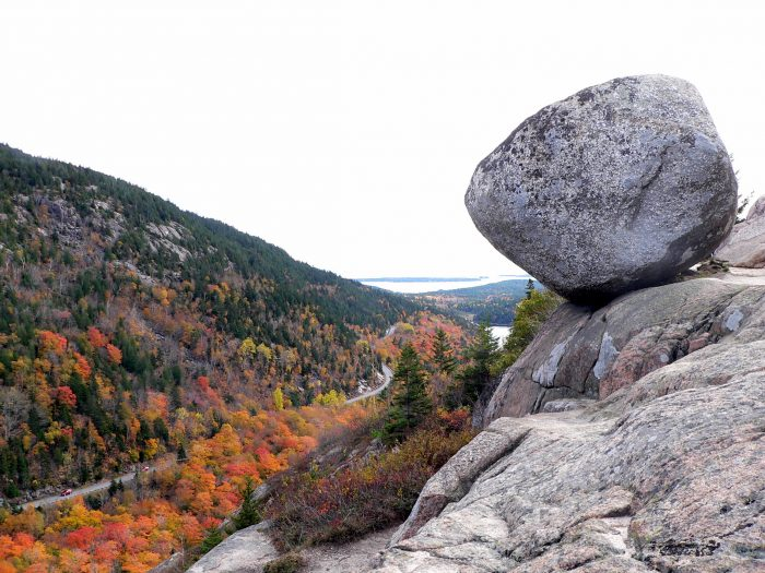 5. The precariously perched Bubble Rock in Acadia National Park will make you question gravity.