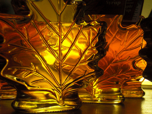 8. Notice who pours their syrup from a maple leaf container.