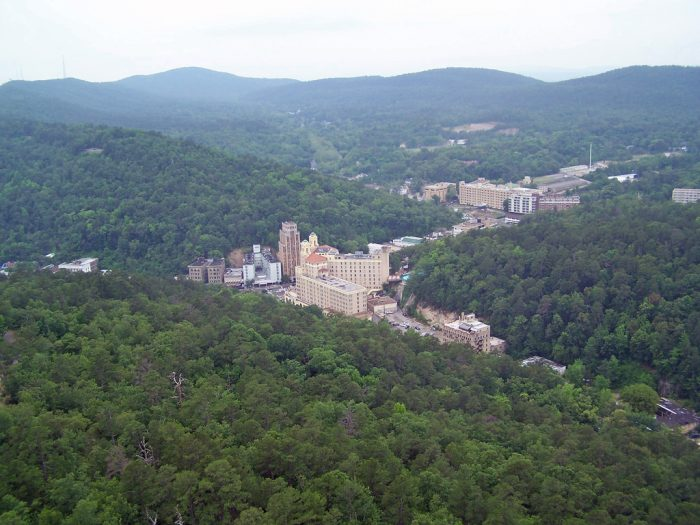 8. View the city at a distance from the observation tower  on Hot Springs Mountain.
