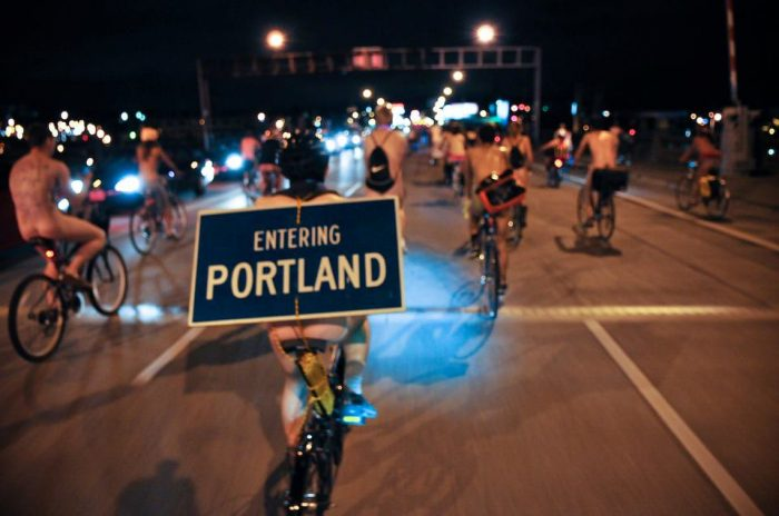 3. Portland holds an annual World Naked Bike Ride.