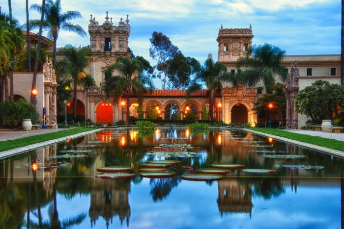 8. Magic hour at Balboa Park with amber lights all aglow.