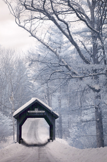 4. Even the winter offers stunning sights, like this view of the covered bridge in Foster.