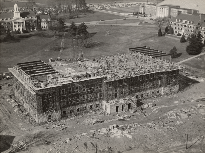15. Construction of the McKeldin Library at the University of Maryland in 1957.