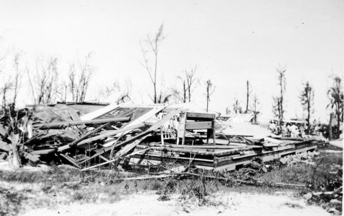 A house destroyed by the 1935 Hurricane. Photo from the Monroe County Library Collection.