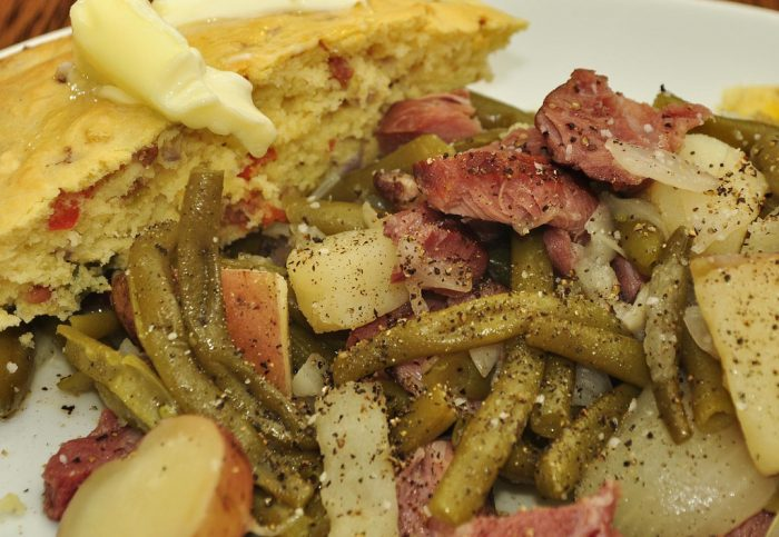 3. Green beans with bacon or ham hock and new potatoes