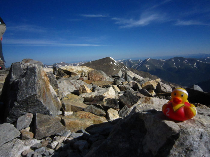 """10. Dates could also now include summiting 14ers with your honey...and your honey's """"14er Duck."""""""