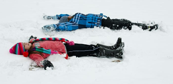 8. Making snow angels...