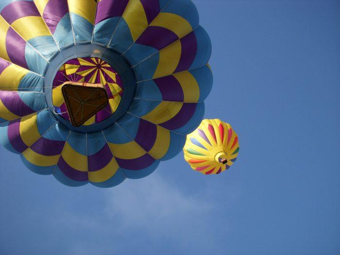 1. High above Maine in a hot air balloon.