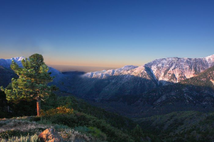 9. The San Gabriel Mountains wrapped in a deep blue SoCal sky.