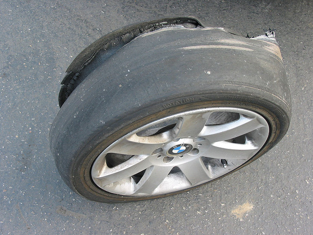 7. Driving on bald tires.