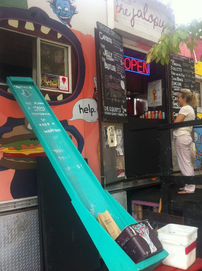 10. The Jalopy is quite the interesting deal, with quite a tasty sounding menu. IF you don't go for the food, go for the sweet design of the food truck!