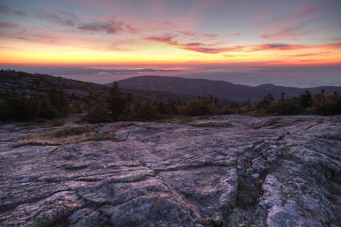10. The summit of Cadillac Mountain at sunrise.